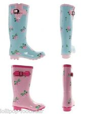 GIRLS CHILDRENS FLORAL PRINT WELLIES WELLINGTONS BOOTS BLUE/PINK SIZES 10 - 5