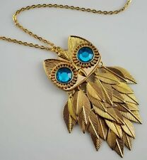 Hot Selling New Fashion Long Charms Charms Blue Eye Owl Necklace Jewelry  A1223