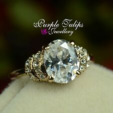 18K Rose Gold Plated 3.0 carat Oval Cut Ring Made With Swarovski Crystals