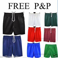 Boys Girls Kids Childrens School Sports Shadow Stripe  PE Shorts 2 - 14 years