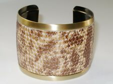 Wide Fashion Cuff Bracelet Gold-tone with Faux Snake Print