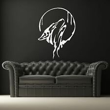 WOLF MOON DOG Tribal Animali Adesivo Muro / Arte Decor / Design Decalcomania Trasferimento A31