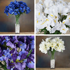 "36 Large 7"" wide Silk Iris Flowers - 4 BUSHES - for Wedding Bouquets Centerpiece"