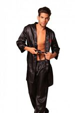 Lovely Day Lingerie Prosperity Embroidered Satin Men's Robe with Long Pant Black