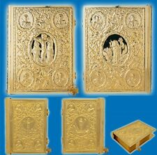 Sculptured Metal Craft Gospel Cover Gold Plated with Greek Evangelion in 3 Sizes