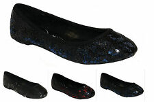 GIRLS SEQUIN WEDDING BRIDESMAID PARTY FLAT DOLLY BALLET PUMPS SHOES UK 10-3
