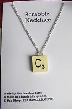 """SCRABBLE Pendant  all letters with 18"""" SP chain Unique Birthday vintage gift"""
