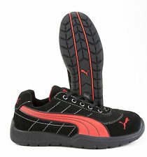 PUMA SILVERTONE STEEL TOE  BLACK/RED ATHLETIC WORK SHOES (MEDIUM) NIB - 642635