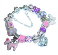 CHILDRENS/GIRLS PERSONALISE ENAMEL CHARM BRACELET PINK & PURPLE GIFT  BOXED