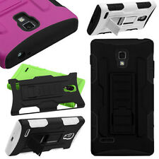 Hybrid Armor Hard Cover Soft Silicone Gel Snap On Case Stand LG P769 Optimus L9