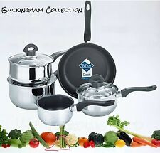 INDUCTION SAUCEPAN NON STICK / FRYING PAN CASSEROLE STAINLESS STEEL COOKWARE SET