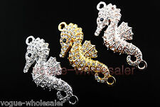 Charms Curved Sea Horse Crystal Rhinestone Bracelet Finding Connectors 47x20mm
