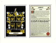 ABBOT to ARDEN Family Coat of Arms Crest & Family History Mount or Framed