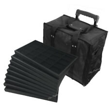 MEDIUM JEWELRY ROLLING CARRYING CASE BLACK TRAVEL CASE & JEWELRY TRAYS & LINERS