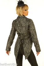 LADIES TAIL COAT GOTHIC VINTAGE COSTUME VICTORIAN FLOCK STEAMPUNK JACKET Black