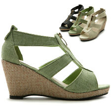 ollio Womens Front Zipper Sandals Wedge High Heels Strap Shoes