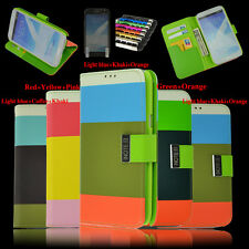 Hybrid Leather Wallet Flip Case For Samsung Galaxy Note 2 N7100+Protector+Stylus