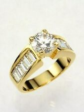 3 CARAT ROUND CUT BAGUETTE GOLD EP WEDDING ENGAGEMENT RING SIZE 5 6 7 8 9 10