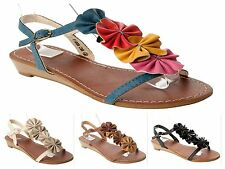 WOMENS FLOWER WEDGE SUMMER BEACH HOLIDAY SANDALS SHOES LADIES UK SIZE 3 - 8
