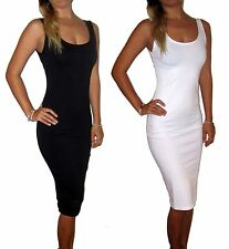 BLACK OR WHITE COTTON MAXI MIDI SUMMER SUN DRESS UK 8 - UK 18