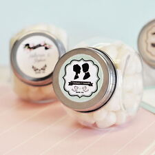 24 Personalized Custom Vintage Wedding Glass Candy Jar Party Favors Container