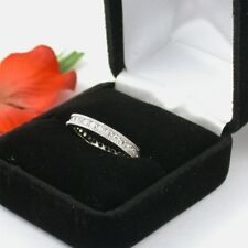 1 CARAT .925 STERLING SILVER ROUND CUT WEDDING  ETERNITY RING BAND FREE RING BOX