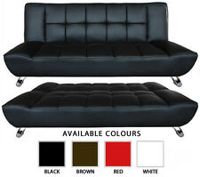 NEW 3 SEATER BLACK BROWN WHITE RED FAUX LEATHER SOFA BED