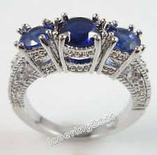 Sz 5-10 Jewelry Antique New Lady's 10KT Gold Filled Sapphire Diamonique Ring