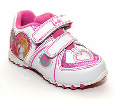 NEW GIRLS DISNEY BARBIE WHITE PINK GLITTER VELCRO FASTENING TRAINERS UK SIZE 7-1