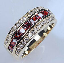 Sz 8-12 Jewellery Brand Men's 10KT Yellow Gold Filled Garnet Diamonique Ring Hot