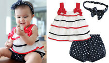 3pcs Baby Girl Toddler Layer Tier Top Dress+Headband+Pants Shorts Outfit Clothes