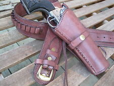 "Cartridge Belt w Smooth Holster Combo- .45 Caliber- Brown - Leather - 32"" to 52"""