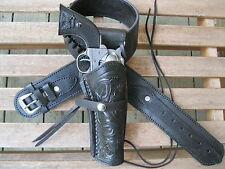 Cartridge Gun Belt with Tooled Holster Combo- .22 Cal -Black -Leather - 32 to 52