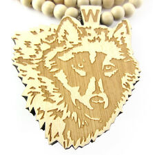 "WOODEN WOLF HEAD PENDANT PIECE & 36"" CHAIN BEAD NECKLACE GOOD WOOD HIP HOP STYLE"