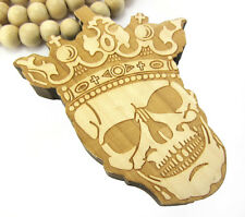 "WOODEN SKULL KING PENDANT PIECE &36"" CHAIN BEAD NECKLACE GOOD WOOD HIP HOP STYLE"