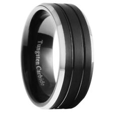 8mm Tungsten Carbide Mens Brushed Grooved Black Wedding Band Ring Size 7-15
