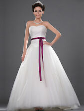 Princess Style Tulle Ball Gown Sweetheart Satin Wedding Dress with Sash Custom