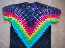 Rainbow V Style Tie Dye T Shirt, Youth 2 to Adult Size 3XL, Tie Die, Hand Dyed