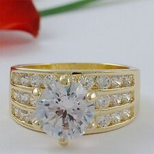 5 CARAT ROUND TRIPLE ROW CZ CUBIC ZIRCONIA WEDDING RING SIZE 5 6 7 8 9 10