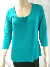 NEW SUSAN GRAVER Essentials LIQUID KNIT 3/4 Sleeve Scoop Neck Top with Shirring