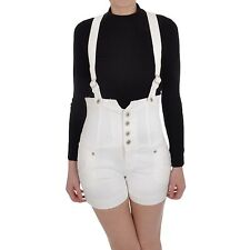 Miss Posh Womens Ladies Playsuits Dungarees Denim Hot Pants Shorts - White