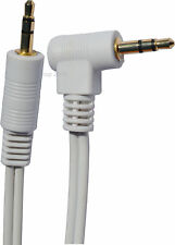 WHITE JACK LEAD Stereo 3.5mm Male GOLD to Right Angled Jack Plug 30cm to 10m