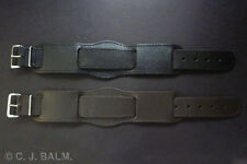 Quality 22mm Vintage Military Style Leather Watch Strap - Black or Brown