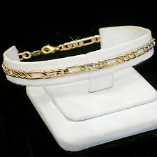 "ALL SIZES 7""-9"" 4mm FIGARO Link Gold Layered Bracelet + LIFETIME GUARANTEE ~ NEW"