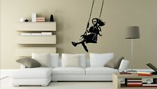 Showstopping inviting art Banksy Swinging Girl vinyl sticker decal 45cm x 70cm