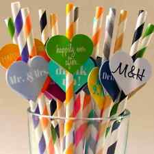 25X Colorful Paper Drinking Straws Striped Wedding Birthday Party Biodegradable