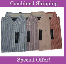 NWT Tommy Hilfiger Short Sleeve Striped Button Down Shirt For Women XS, S, M, L