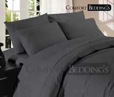 Sale-Complete Bedding Collection 1000TC Egyptian Cotton Gray Stripe In All Size