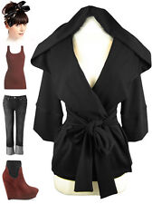 Comfy CHIC BLACK HOODED Wrap Across SLOUCHY Cardigan JACKET w/ Attached Belt