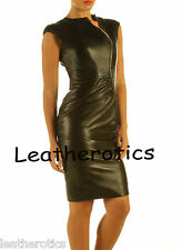 Lavish soft Black Leather dress with zip front top calf length burlesque md85